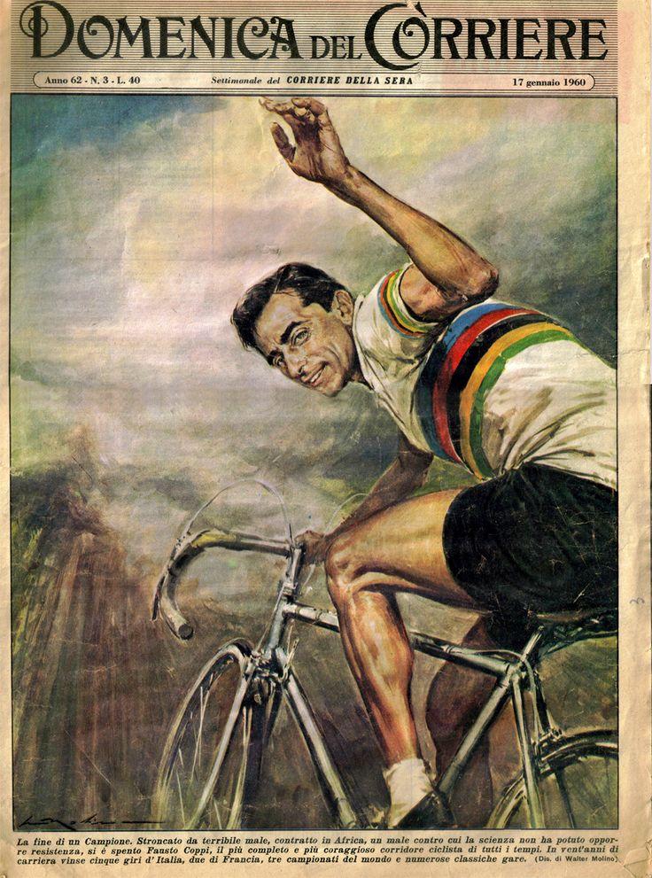 Walter Molino (1915-1997). Fausto Coppi, 2 gennaio 1960 [La Domenica Del Corriere]