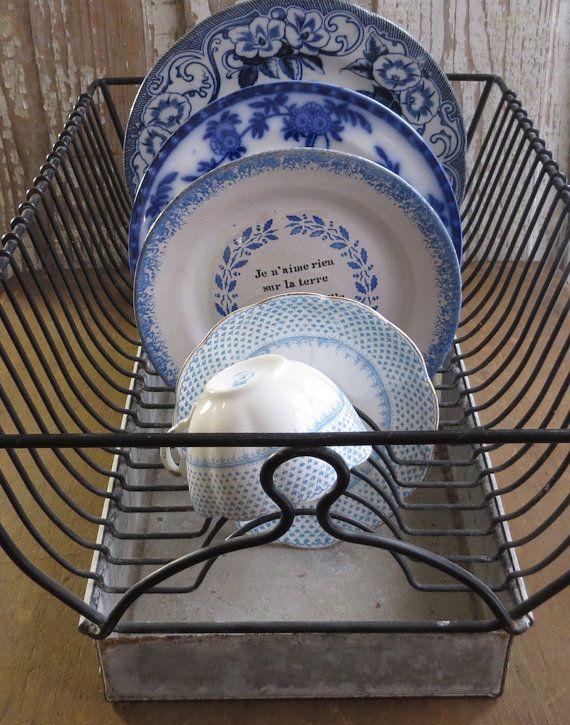 Vintage French Dish Drainer, Black Metal Sink Drying Rack