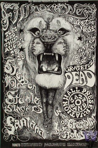 TOUR POSTER FOR SONS OF CHAMPLIN, PRESERVATION HALL JAZZ BAND, GRATEFUL DEAD, STAPLE SINGERS, STEPPENWOLF, AND SANTANA BY LEE CONKLIN