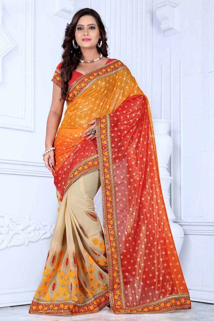 Orange Faux Georgette Wedding Saree 63696