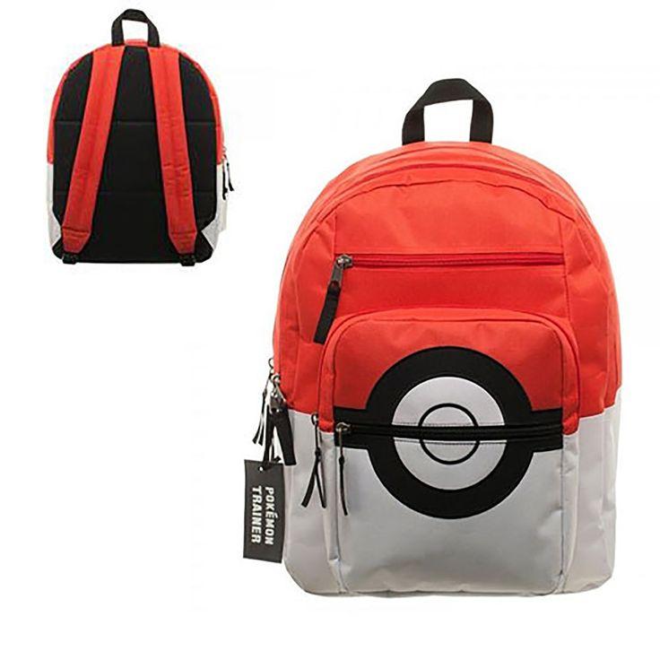 INSTEN Novelty Pokemon Pokeball Backpack with Trainer Bag Charm
