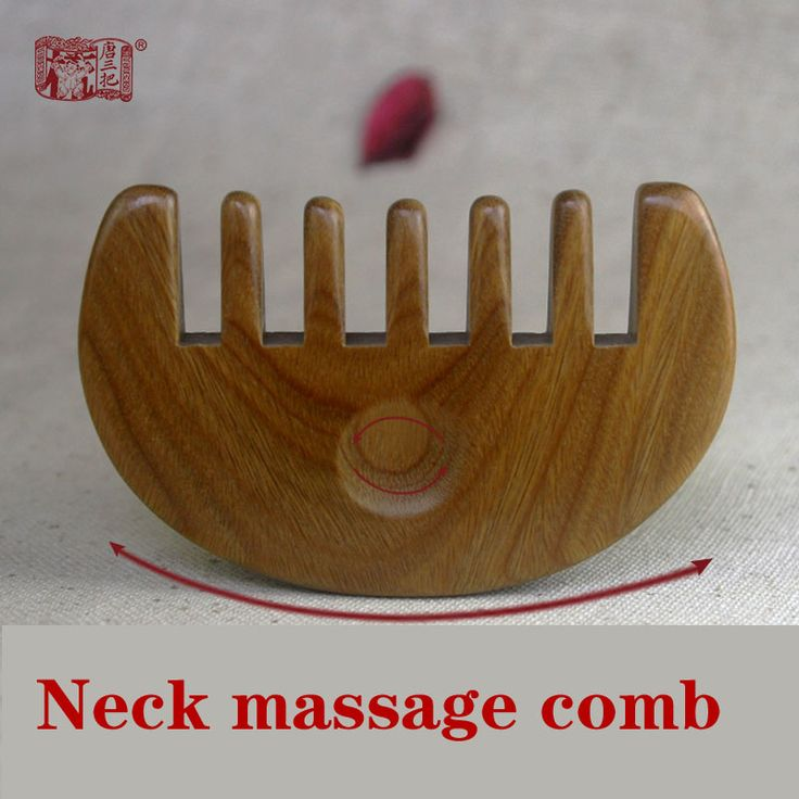 Green sandalwood combed wooden head neck mammary gland meridian lymphatic massage comb wide teeth comb