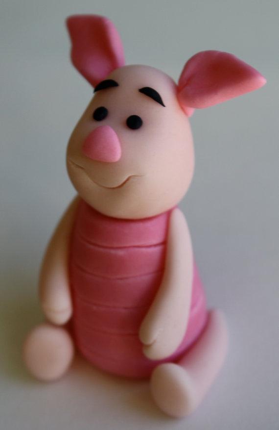"Piglet ""Winnie the Pooh""  inspired Fondant Cake/Cupcake Topper. $11.95, via Etsy."