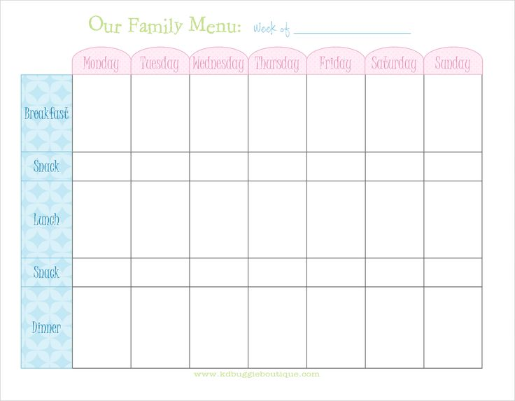 Free weekly menu planner with snacks printable for Two week meal plan template