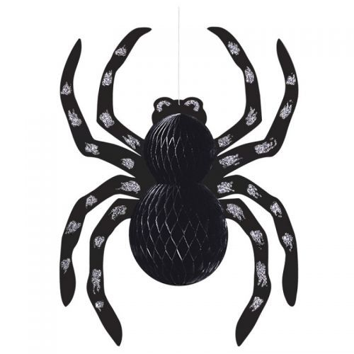 this hanging honeycomb glitter spider decoration will really give your guests a fright this spooky spider features a shiny black honeycomb style body with - Spider Decorations