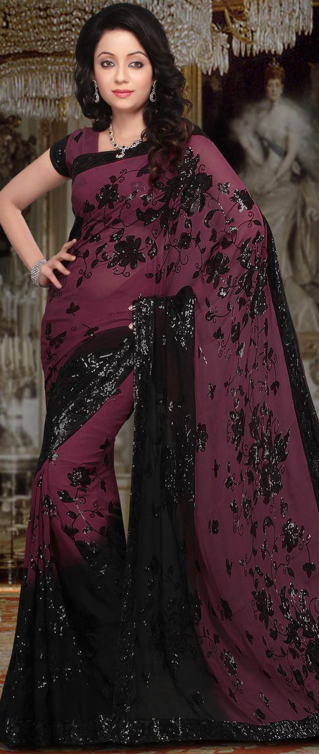 #Black Faux #GeorgetteSaree @ $78.00