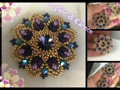 """"""" Tutorial orecchini Grace""""rivoli 14 mm - bicono 4 mm - es-0 beads - roc 15/0 e 2 colori di roc 11/0 - superduo"""