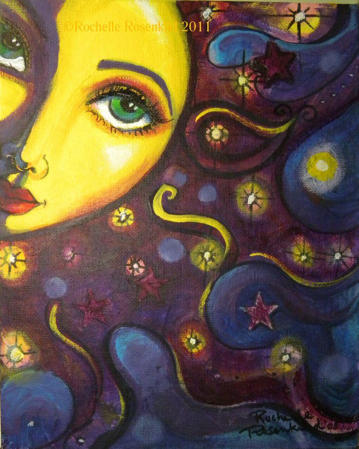 "Sun face painting Celestial goddess art Original 8 x 10"" whimsical decor CaaT. $50.00, via Etsy."