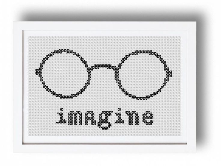 Cross stitch pattern Imagine, John Lennon modern cross stitch pattern, The Beatles, PDF **Instant download** by FaimyCrossStitch on Etsy