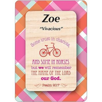 Buy Girl Daydream Scripture Name Cards that begin with Z. Inspirational bible verse with meaning of the name is pre-printed on each name card. 1 Standard Name is Available. All Female and Girl Names that start with the Letter Z. (Zoe) Colors and Background Prints vary. Card Dimensions 2.5 x 3.5 Tall. Every Girl and Female will love to see her name and meaning in print on a card.