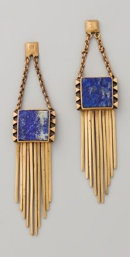 cobalt + gold earrings.