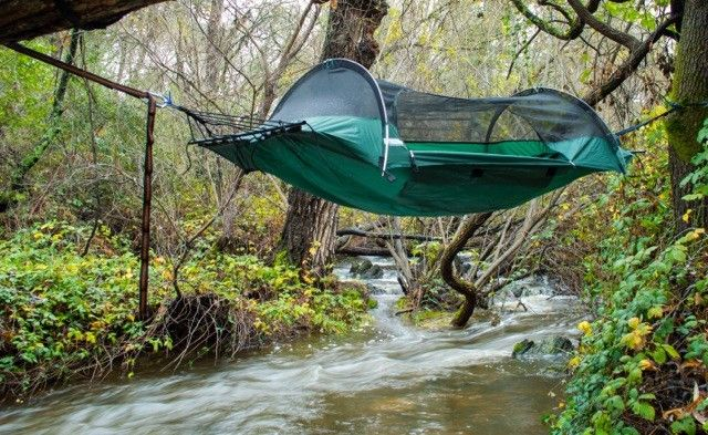 This tent hammock can be used suspended or on the ground as a tent. And we're giving away one for FREE! Enter for your chance to win.