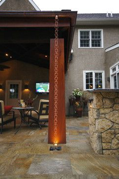 Eastern Influence asian patio. Rain chain