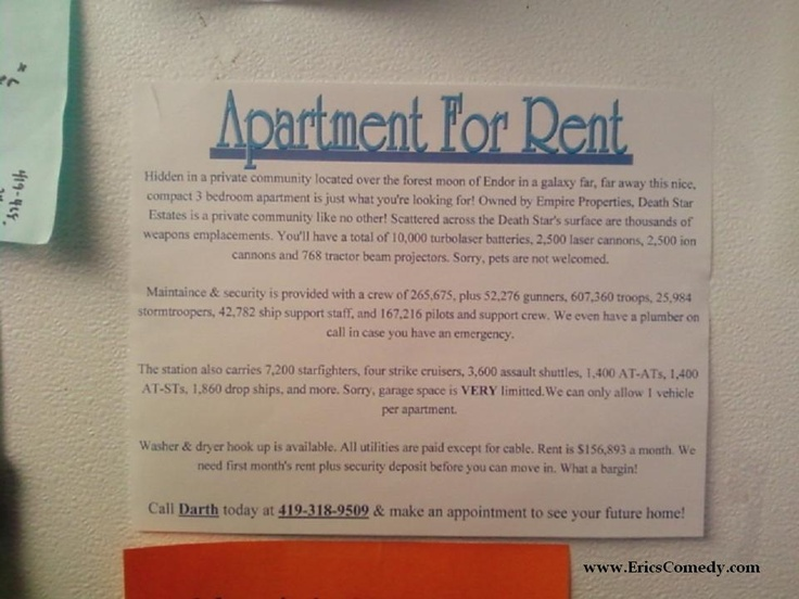 Want to rent an apartment on the Death Star?