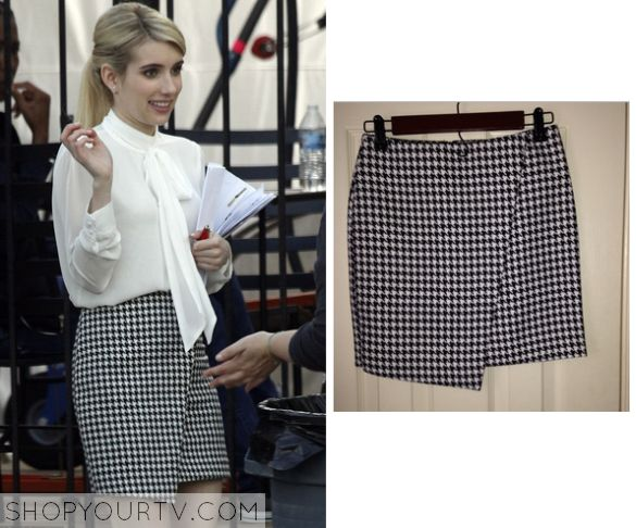 Chanel Oberlin (Emma Roberts) wears this black and white assymetrical houndstooth print skirt during filming for Scream Queens.   It is the H&M Assymetric Skirt. Sold Out.