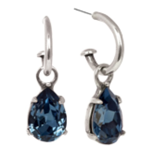 Teardrop Denim Blue Swarovski Crystal Pretty Woman earring charms (E2328) pictured on our medium burnished silver hoops (E2243).