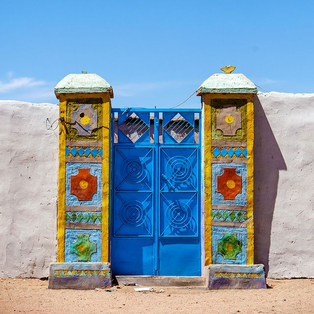 A colorful door in the Nubian villages in northern Sudan. by Constantine James, via Flickr