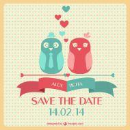 Grátis: Save the date dois passarinhos