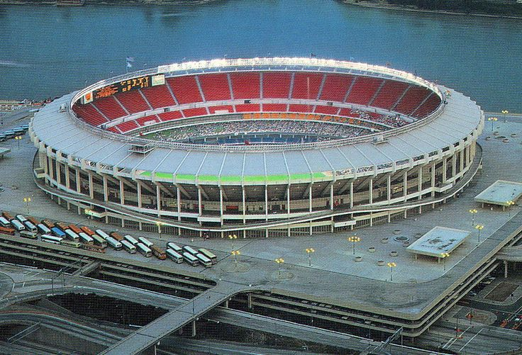 Riverfront Stadium, Cincinnati. Former home of the Reds and Bengals. Torn down in the early 1980s to make way for a new stadium.