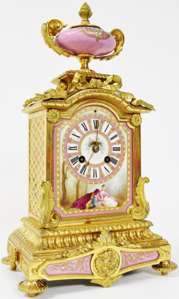 French Antique Ormolu Bronze Pink Sevres 8 Day Striking Mantel Clock Japy Freres  | eBay