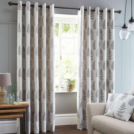 Patterned with grey fern leaves on a natural background, these eyelet curtains are fully lined and available in a selection of sizes....