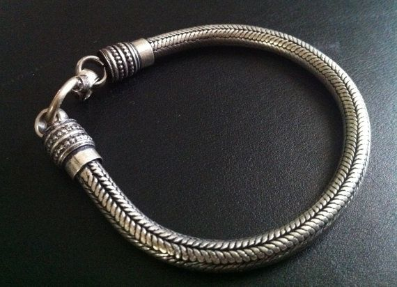 Prata pulseira de corda cadeia Homens pulseira de prata