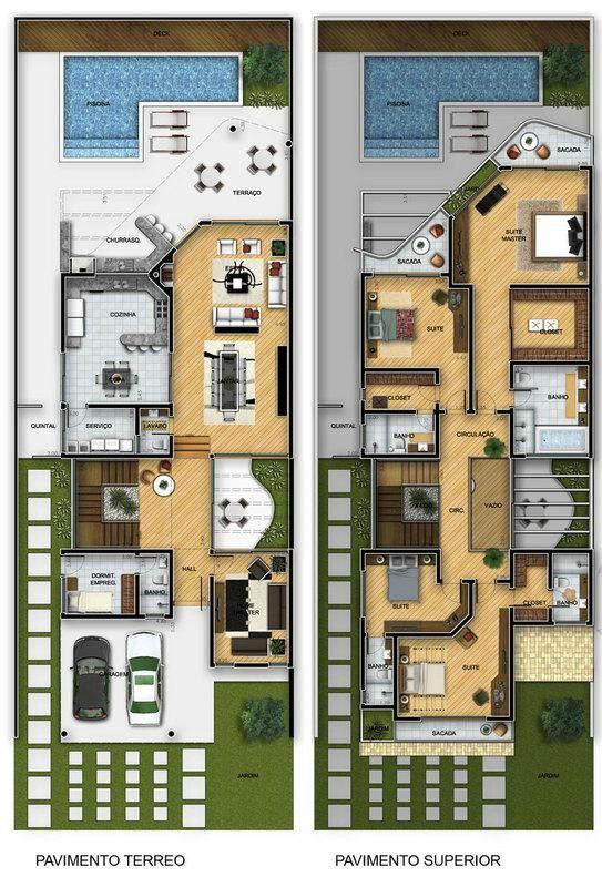 Projeto de Sobrado de 4 quartos com 412,87m²