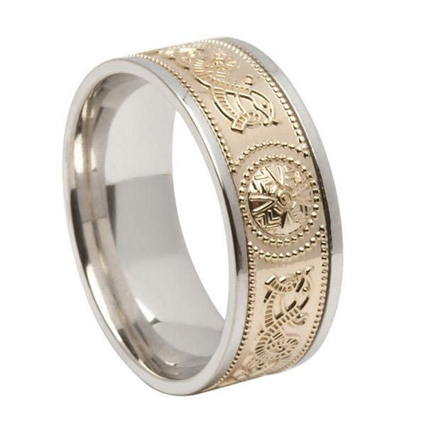 Two Tone Celtic Warrior Ring Made In Ireland Celtic Wedding Rings Irish Wedding Rings Celtic Rings