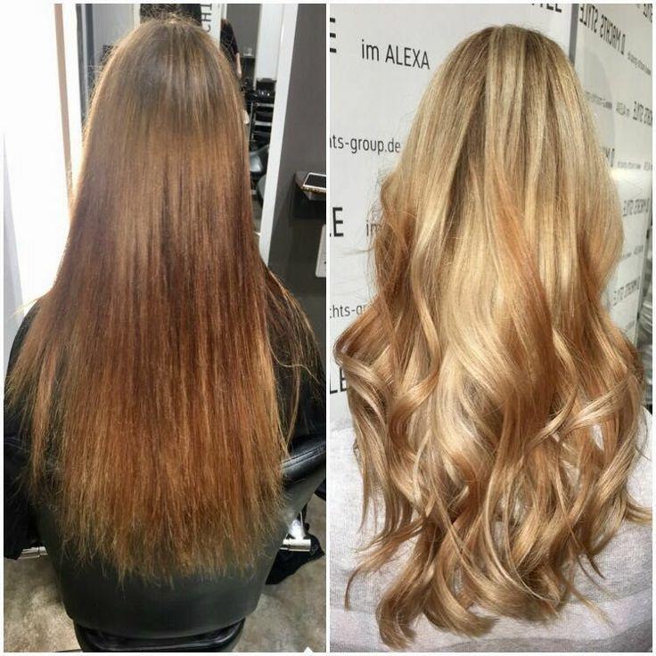 vorher-nachher, Haarverlängerung, Haarfarben, D. Machts Style – Alexa in Berlin, hair color, extension.