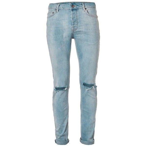 TOPMAN Light Wash Blue Ripped Stretch Skinny Jeans