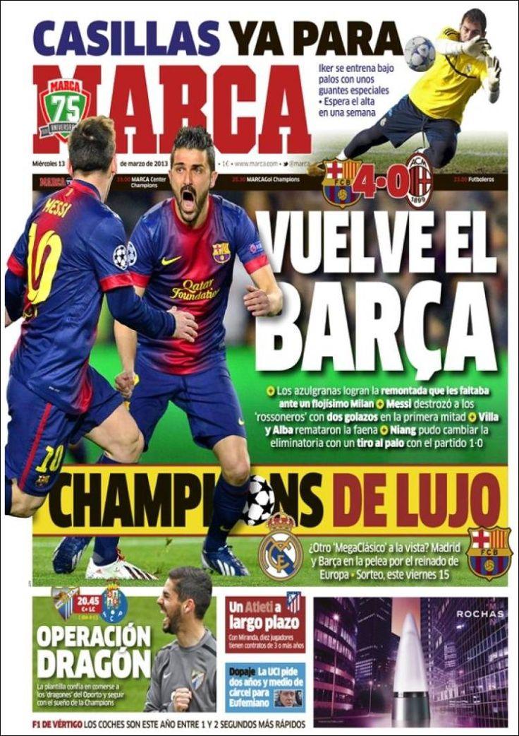 Los Titulares y Portadas de Noticias Destacadas Españolas del 13 de Marzo de 2013 del Diario Deportivo Marca ¿Que le pareció esta Portada de este Diario Español?