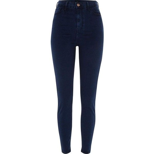 River Island Dark blue Harper high waisted jeans ($84) ❤ liked on Polyvore featuring jeans, bottoms, blue, skinny jeans, women, high rise skinny jeans, skinny leg jeans, blue denim jeans, high-waisted jeans and super high rise skinny jeans