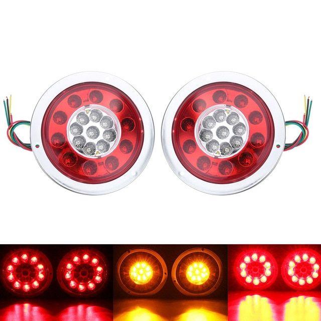 1 Pair 19 Leds Car Led Rear Tail Lights Stop Brake Light For Truck Trailer Vehicles 12v 24v Side Lamp Red Yellow Review Car Led Tail Light Side Lamps