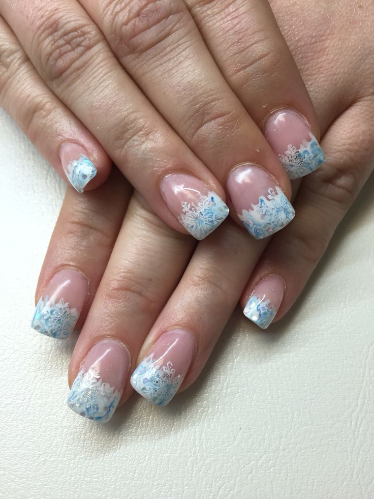 EnVouge white and blue mix fade tip, snowflake stamping, foil art