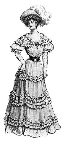 This fluffy garden party gown of organdy has a yoke and sleeves made of either transparent net or lace. Patterns for the blouse closed at the back, with a choice of a high or low neck and required two yards and three-eighths of 44-inch wide material. Patterns for the seven-gored skirt came in five sizes: 22 to 30 inch waist measurement and required five yards and one-eighth of 44-inch wide fabric.