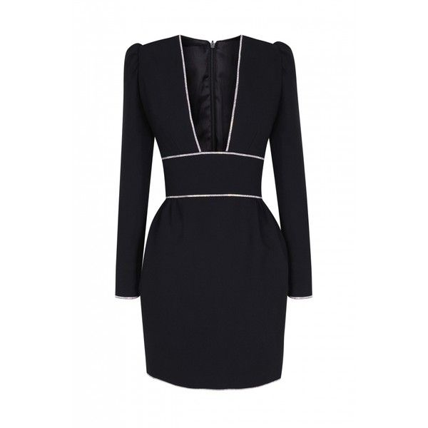 The 2nd Skin Co Deep V Neck Black Mini Dress (48,270 DOP) ❤ liked on Polyvore featuring dresses, black, sexy cocktail dresses, sexy short skirts, sexy mini skirt, long sleeve dress and short pleated skirt