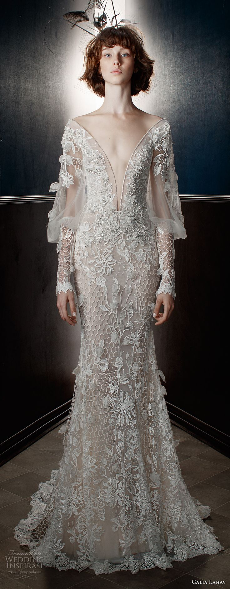 galia lahav spring 2018 bridal long bishop sleeves deep plunging v neck full embellishment elegant fit and flare wedding dress keyhole back sweep train (lia) mv -- Galia Lahav Spring 2018 Wedding Dresses