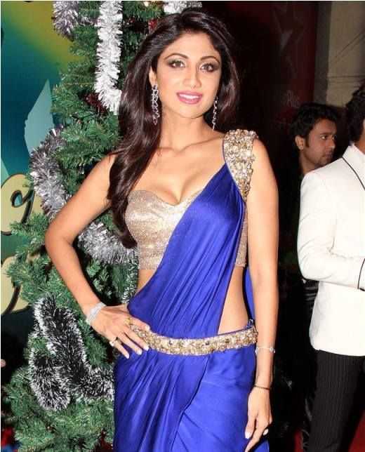 Shipa Shetty beautiful in embellished Blue  Silver Saree Gown