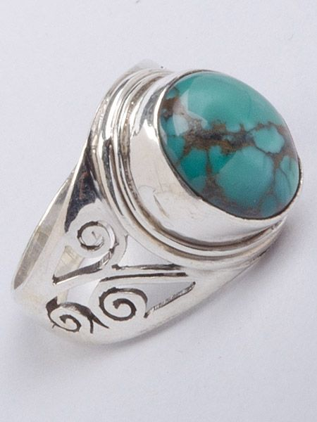 Stunning semi precious stone silver ring which has been hand cut in Kathmandu, Nepal. This ring is guaranteed 925 silver. Turquoise stone