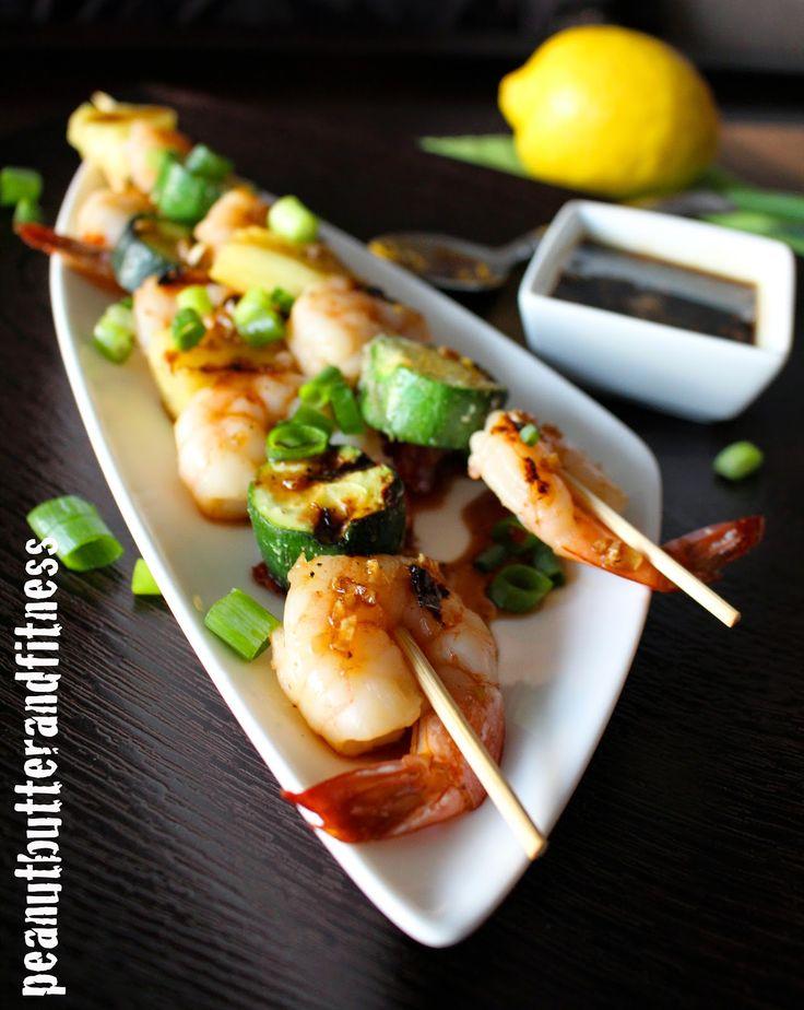 Shrimp Kebobs with Honey Soy Lemon Glaze - I'm loving this combo of ...