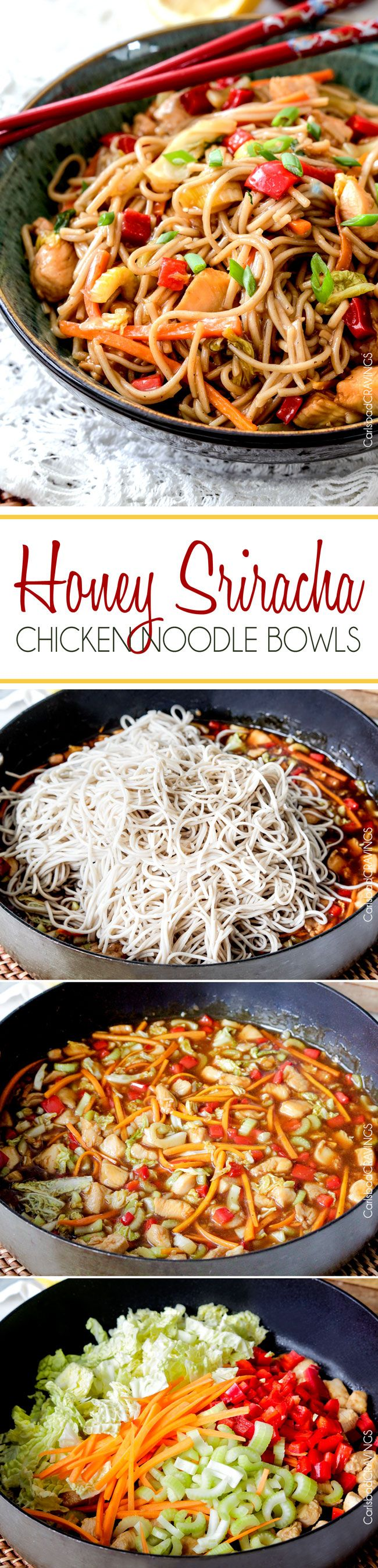 Sweet and spicy Honey Sriracha Chicken Noodle Bowls smothered in the most delectable sweet heat sauce.