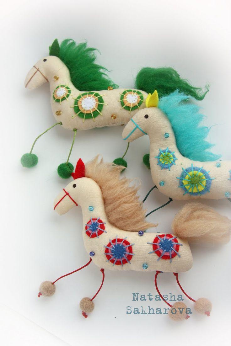 текстильные куклы интерьерные игрушки Сахаровой Натальи: Веселые лошадки