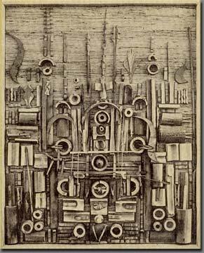 Cette oeuvre est de Louise Nevelson, j'aime cette oeuvre à cause de l'assemblage. Le montage des objet est très intéressant. J'aime comment Louise Nevelson a assembler tout ces objet. Je ne sens aucune émotions précise en regardant cette oeuvre. Il y a des objets, de la peinture gris crème et un peu de brun foncé.