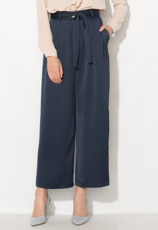 Pantaloni culottes eleganti cu talie inalta bleumarin