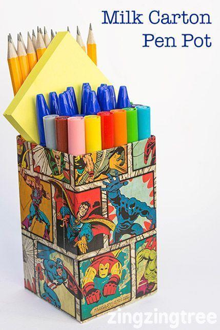 Milk Carton Craft - Upcycle Milk Cartos (tetra packs) into cool funky Pen Pots