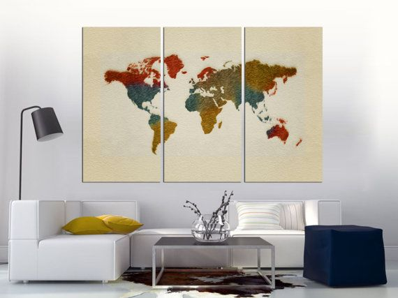 8 best world map art inspiration images on pinterest world maps colorful paint world map 3 panel split canvas print triptych 15 deep frames for wall decor interior design gumiabroncs Choice Image