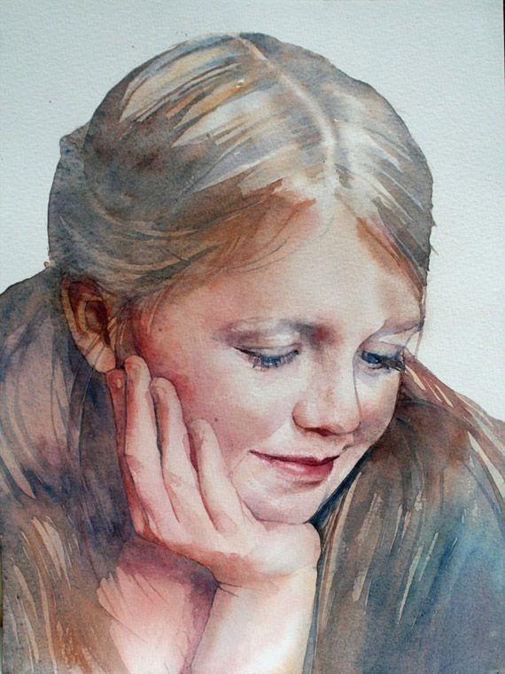 Color tone / layers / shadow / Watercolor portrait.