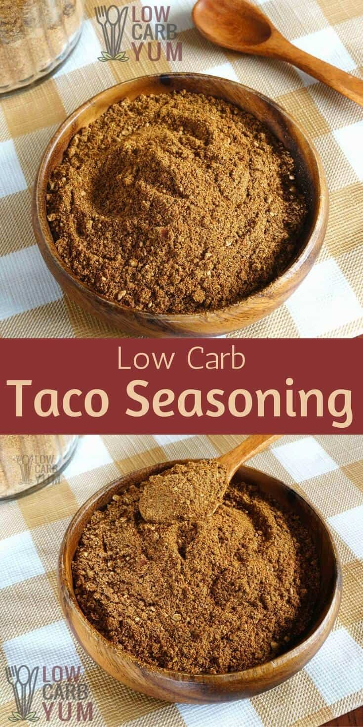 An easy low carb taco seasoning mix for all your keto recipes. It's a simple spice mix that you'll want to keep on hand for using in Mexican dishes. #lowcarb #keto #ketorecipe | LowCarbYum.com via @lowcarbyum