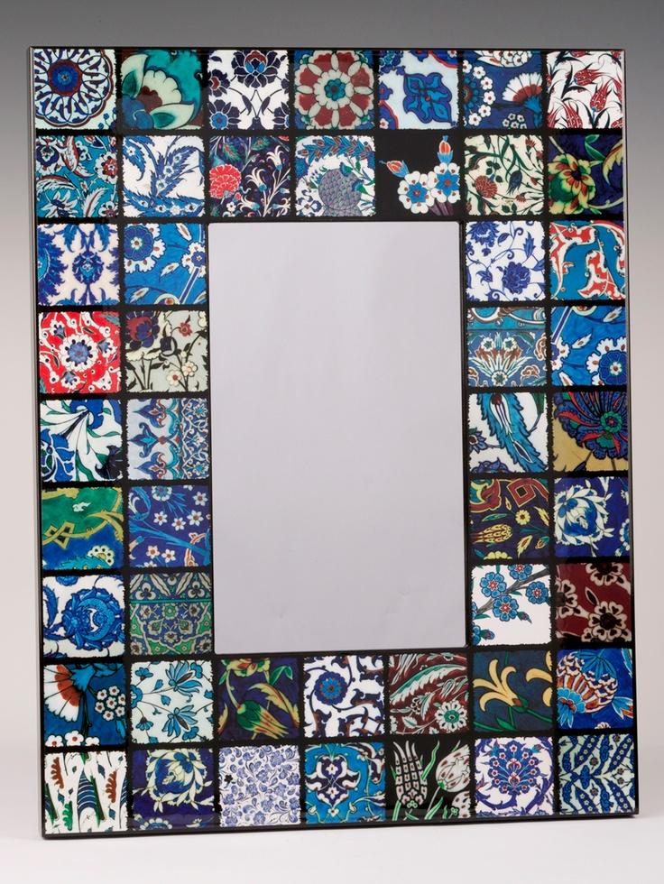 Iznik tile frame for mirror