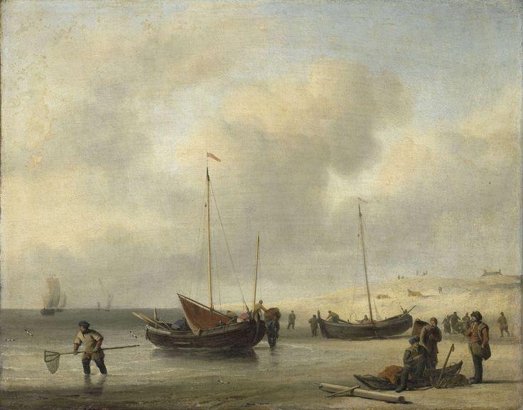 Vissersschepen aan het strand, Willem van de Velde (II), 1650 - 1707